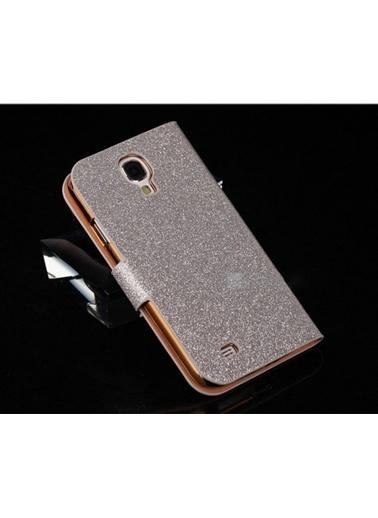 Microsonic Pearl Simli Taşlı Deri Kılıf - Galaxy S4 İ9500 Beyaz Renkli